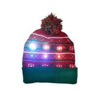 beanies LED Christmas knitted hat with flanging and ball, American cap light warm decoration