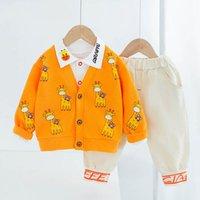 Boys Clothing Sets Boy Suit Kids Coat Outfits Baby Spring Autumn Cotton Long Sleeve Cardigan Shirts Trousers Pants Cartoon 3Pcs 0-3T B4981