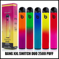 Bang XXL 스위치 듀오 일회용 vape 펜 전자 담배 장치 1100mAh 배터리 7ml 포드 프리 킬레 워 캣 리지 2500 퍼프 bangs xxtra 키트 에어 바 럭스 맥스 퍼프 더블