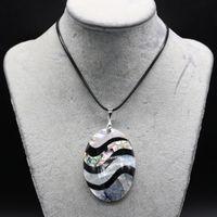 Натуральные полосы раковины кулон ожерелье мода Abalone для ювелирных изделий изысканный подарок длина 55 + 5см ожерелья