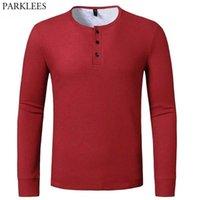 Red Waffle Cotton Tshirt Men Brand Casual Slim Fit Henley Shirts Mens Long Sleeve T-shirt Men Autumn Winter T Shirt Male 210522