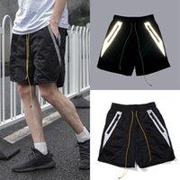 Marca Trendy Rhude Summer Drawstring Reflexivo Splicing Malha Esportiva Shorts Homens e mulheres soltas calças casuais