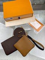 الثلاثي الحقيبة m68756 جلد البقر 3 قطع المحافظ ماركة كبيرة المرأة سستة عملة محافظ سيدة مخلب أكياس فاخرة حقيبة فاني حزمة مع مربع مصمم الأصلي