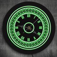 Wall Clocks 3D Pattern Led Lighting Clock With Multi Color Changes Vintage Rumerals Black Round Silent Mandala Circle Design