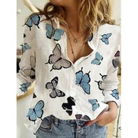 Women's Butterfly Print Shirt Fashion Wild Casual Long Sleeve Single-breasted Lapel Blouse Top Blouses & Shirts