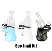 Authentic SOC Enail Kit 2600mAh Wax Concentrate Shatter Budder Dab Rig Kit With 4 Heat Settings Glass Vaporizer Vape Kit Genuinbe