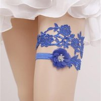 2 шт. Установите синие кружева свадебные ноги подвязки стремления привязки свадьбы свадебные привязки пояс из искусственного жемчуга свободный размер 16-23 дюймов