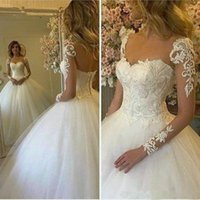 Lace Appliques Ball Gown Wedding Dress with Long Sleeves Sheer Neck bridal party dresses