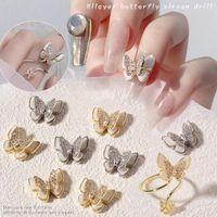 1 ADET Narin Kolye Zincir 3D Alaşım Kelebek Nail Art Zirkon Inci Metal Manikür Çivi DIY Aksesuarları Charms Dekorasyon Süslemeleri