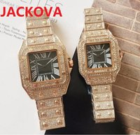 Mens Square Roman Dial Designer Watch Shinning Diamonds Ring Iced Out Watches Full Stainless Steel Men Women Quartz Movement montre Gift Party Wristwatch Clock