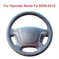 Customize Car Steering Wheel Cover For Santa Fe 2006-2012 Leather Braid Covers