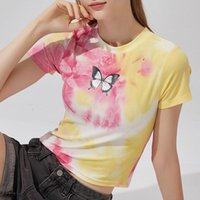 Fashion Women Girls Knit Short Sleeve O-Neck Slim Butterfly Tie-dyed Summer Tops Tee Casual T-shirt Women's