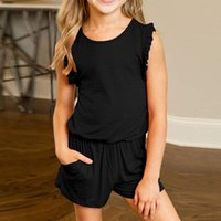 Clothing Sets Summer 2021 Children Kids Girl Sleeveless Solid Ruffles Romper Jumpsuit With Side Pockets Fashion Clothes