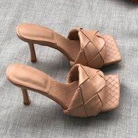 المرأة ساحة تو أحذية عالية الكعب أحذية امرأة نسج مصمم الفاخرة البغال الخنجر الكعوب مضخات مثير السيدات اللباس الجلود حزب الصنادل 2021