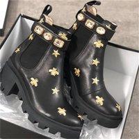 2021 Senhoras Botas Curtas 100% Cowhide Clássico Bee Mulheres Sapatos de Couro de Salto alto Bota De Salto Diamantes Diamantes Lady Grosso Salto Martin Tamanho Us5-11