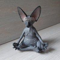 Decoraciones de jardín Buda caprichoso Sphynx Cat Figurine Meditación Yoga Feliz decoración Arte Escultura Estatuas al aire libre Figuras # G4