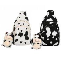 Women Cute Cow Print Purse Canvas Cell Phone Bag Sling Crossbody D0LF Waist Bags