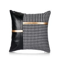Cushion Decorative Pillow Cushion Cover Decorative Throw Houndstooth PU Sofa Pillowcase Stitching Bed Coussin Case