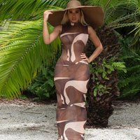 Sexy Chic Abstract Print Sheer Mesh Long Maxi Dress Women 2021 Summer Sleeveless Beach Vacation Outfits Bodycon Party Club Casual Dresses