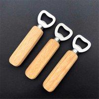 새로운 가정용 선드리 나무 손잡이 병 오프너 휴대용 부엌 파티 스테인레스 스틸 맥주 소다 도구 도매 선물