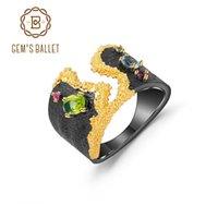 Cluster Rings GEM'S BALLET 925 Sterling Silver Handmade Vintage Ring For Women Jewelry Natural Multicolor Peridot Topaz Gemstones Open