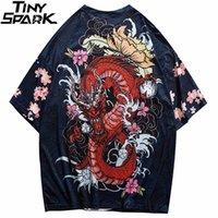 Erkekler T Gömlek Streetwear Fire Dragon T-shirt Hip Hop Harajuku Tshirt Yaz Plaj Tops Tees Kısa Kollu Ince Mavi Hispter 210319