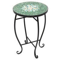 """Smart Furniture Flower Stand/Shelf Side Table Mosaic Stained Glass Green Surface suitable for room/garden/balcony/restaurant size (9.06*9.06*20.47)"""" / (23*23*52)cm(L*W*H)"""