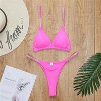 Women's Swimwear Triangle Cup Solid Color Sexy Swimsuit 2021 Summer Fashion Split Suit Ladies Bikini Beach Clothing