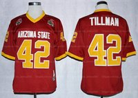 Vintage Pat Tillman 42 College Football Jersey 1997 Rosenschale Sun Devis Asu Mens Nähte Kastanienbraune Top Qualität Hemden Trikots