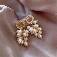 Wheat ears Pearl Pendant Earrings for Women 2021 New Fashion Jewelry Oval Gold Hollow Round Tassel Dangle Earrings Accessories