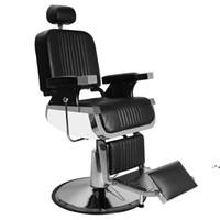 Hand Hydraulic Recline Barber Chair Salon Furniture for Hair Stylist Heavy Tattoo Chairs Shampoo Beauty Equipment Black BY SEA NHB10339