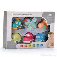 6 pcs cartoon carros carros bebê brinquedos bonito táxi ônibus tractor Bebe para crianças meninos educativos presentes ao longo de 1 ano de idade