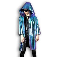 Men's Fur & Faux Tailor-made Men Stage Dance Wear Costumes Male Women Fashion Hip Hop Leather Hooded Cloak Trench Coat Loose Long Cardigan J