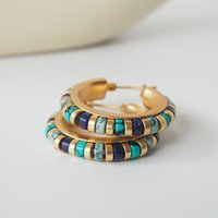 Turquoise Hoop Earrings Multi Gemstone Hoops 18K Matte Gold Plated Retro Boho Jewelry