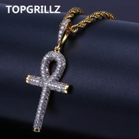 Designer Necklace Luxury Jewelry Solid Back Ankh Cros Men Women Hip Hop Pendant Iced Out AAA+ Bling CZ Stone Gift Drophipping
