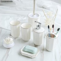 Ceramic Bathroom Accessories Set Five-piece Wash Seoilet Cleaning Brush Lotion Soap Dispenser Toothbrush Holder Soap Tray Bath Accessory