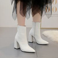 LTARTA Winter Fashion Square Heel Women's Boots White High-Heeled Pointed Boots Women's Shoes ZL-8931-2 210429