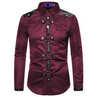 Men's Casual Shirts Long Shirt Men Goth Style Rivet Solid Color Cargo Slim Fit Chemise Noel Party Singer Stage Streetwear For Clothing