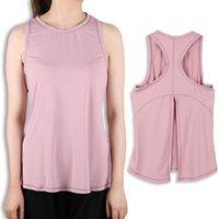 T-shirt da donna yoga T-shirt sportiva attiva T-shirt sportiva traspirante Casual Casual Round Neck Senza maniche Gilet rosa morbido e comodo Piuttosto