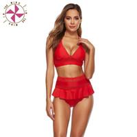 في الرياح الأسود المايوه الحمراء مع تنورة مثير عالية الخصر بيكيني 2021 أنثى ملابس النساء الرجعية الاستحمام البدلة قطعة واحدة الدعاوى
