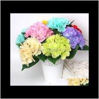 Flores decorativas guirnaldas festivas festivos suministros hogares hardensimulados piezas de seda de una sola novia de boda de seda con arreglo de flores
