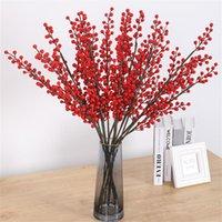 Dekoratif Çiçekler Çelenk Yapay Çiçek Kırmızı Meyve Buketi Simülasyon Fasulye Sahte Yıl Düğün Dekor Berry Şube Noel Dekorasyon
