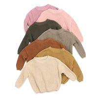 Deisgner Kids Pullover осень зима новорожденного девочка мальчик вязаный свитер твердое свободное пуловер повседневные топы теплые одежды для 0-6T 155 Z2