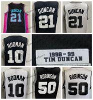 Mens vintage 1998-1999 Tim 21 Duncans Basketball Jerseys David 50 Robinson Dennis 10 Rodman Preto Costurado Camisas S-XXL