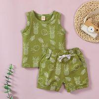 Clothing Sets Baby Girls Clothes Set Children's Sleeveless Cartoon Pineapple Print Top + Shorts Suit Vestidos De Verano