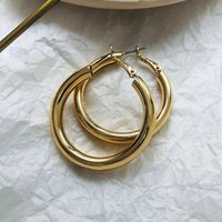 AFSHOR Fashion Gold Color Oversize Charm Hoop Ear For Women Wide Big Metal Round Circle Statement Earrings Vintage Jewelry Gif