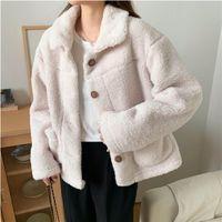 Winter Warm Women Coat Loose Long Sleeves Fashion Female Fur Jacket Sweet Elegant Overcoat Pocket Plus Size Thick Jackets Women's