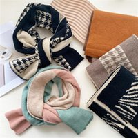 Scarves Houndstooth Cashmere Scarf Autumn Winter Soft Warm Neckerchief Vintage Fashion Stitching Double Sided Knitting