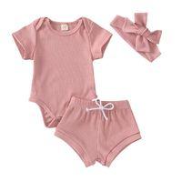Комплекты одежды Iyeal Born Born Baby Girl Одежда набор моды с коротким рукавом сплошной цвет ромпер топы шорты повязки малыша младенческие наряды