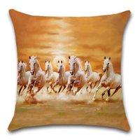 Cushion Decorative Pillow Horse Decor Painting Style Beige Decoration Home House Party Cushion Cover Case Chair Sofa For Kids Friend Gift Pr